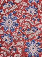Tomato Red Ivory Blue Hand Block Printed Cotton Fabric Per Meter - F001F1153