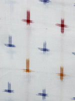 White Blue Red Mustard Yellow Pochampally Hand Weaved Double Ikat Fabric Per Meter - F003F1226