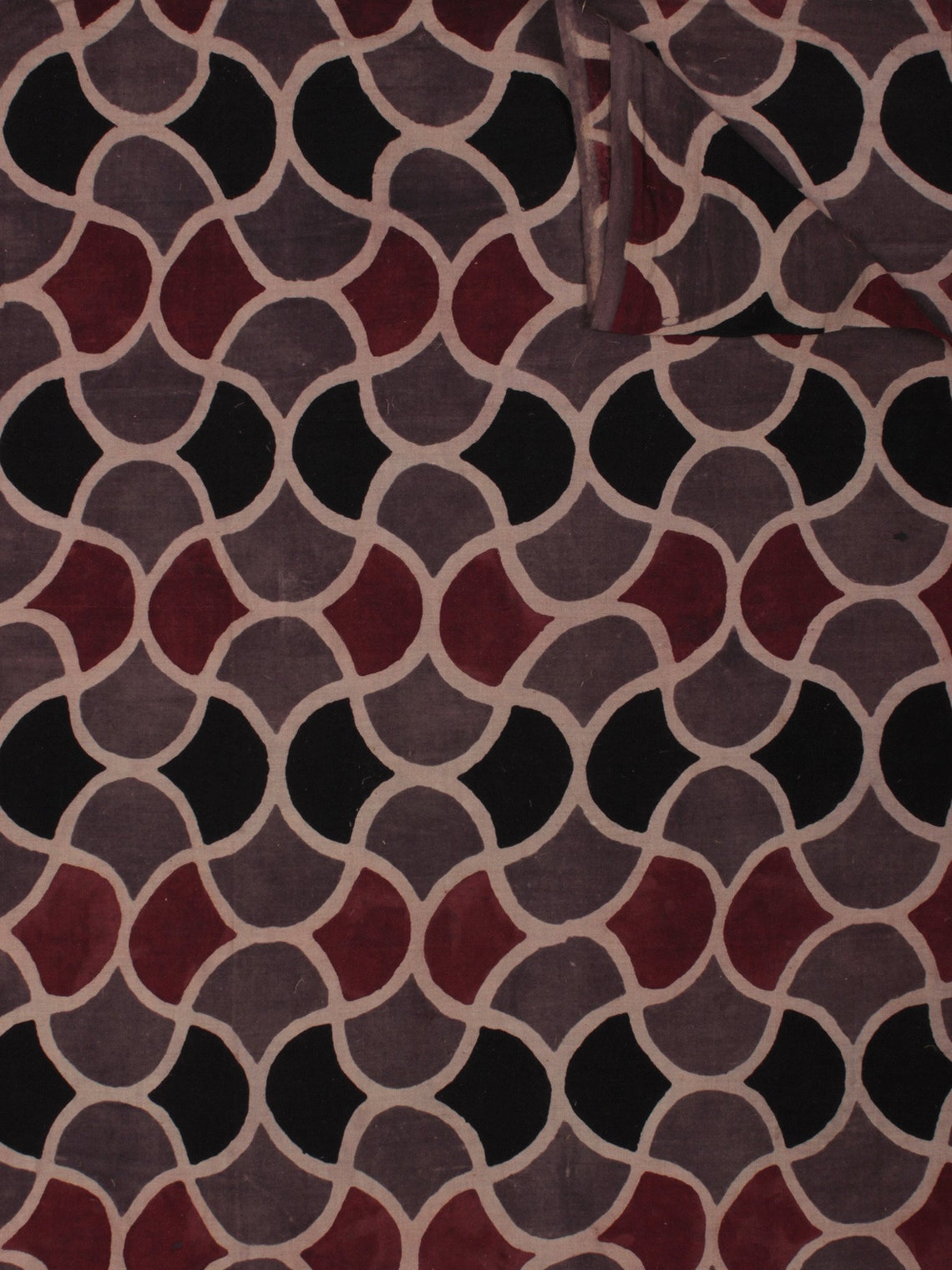 Kashish Maroon Black Beige Ajrakh Block Printed Cotton Fabric Per Meter - F003F849