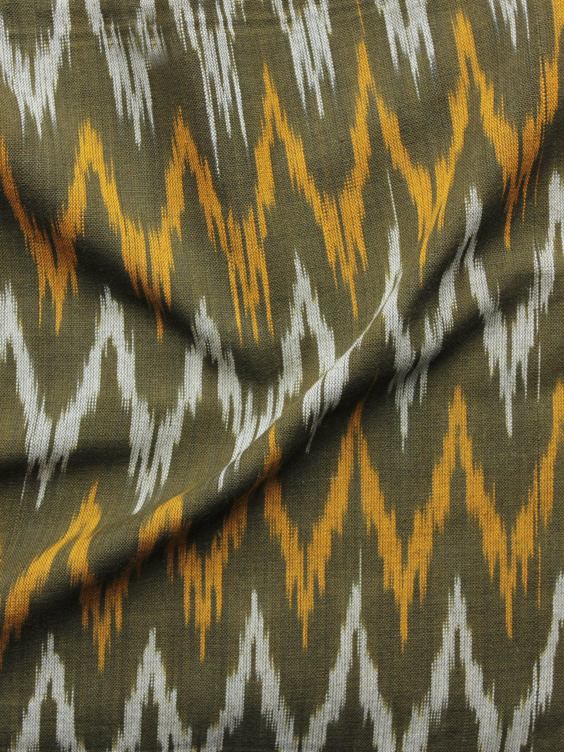 Olive Green Ivory Orange Pochampally Hand Woven Ikat Fabric Per Meter - F002F913