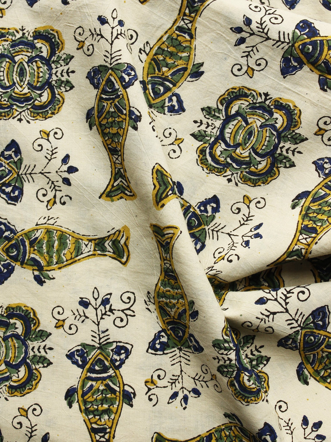 Beige Green Indigo Hand Block Printed Cotton Fabric Per Meter - F001F1060