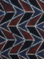 Blue Black Maroon Ajrakh Printed Cotton Fabric Per Meter - F003F1171