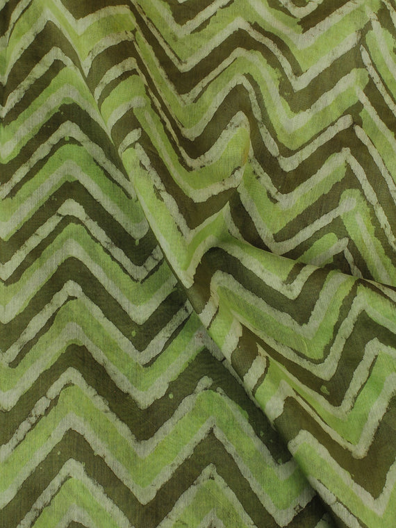 Green Grey Ivory Hand Block Printed Chanderi Silk Fabric Per Meter - F0916196