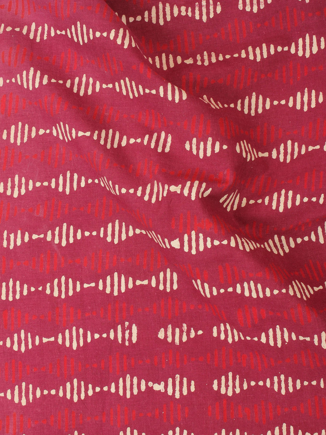 Red Beige Natural Dyed Hand Block Printed Cotton Fabric Per Meter - F0916219