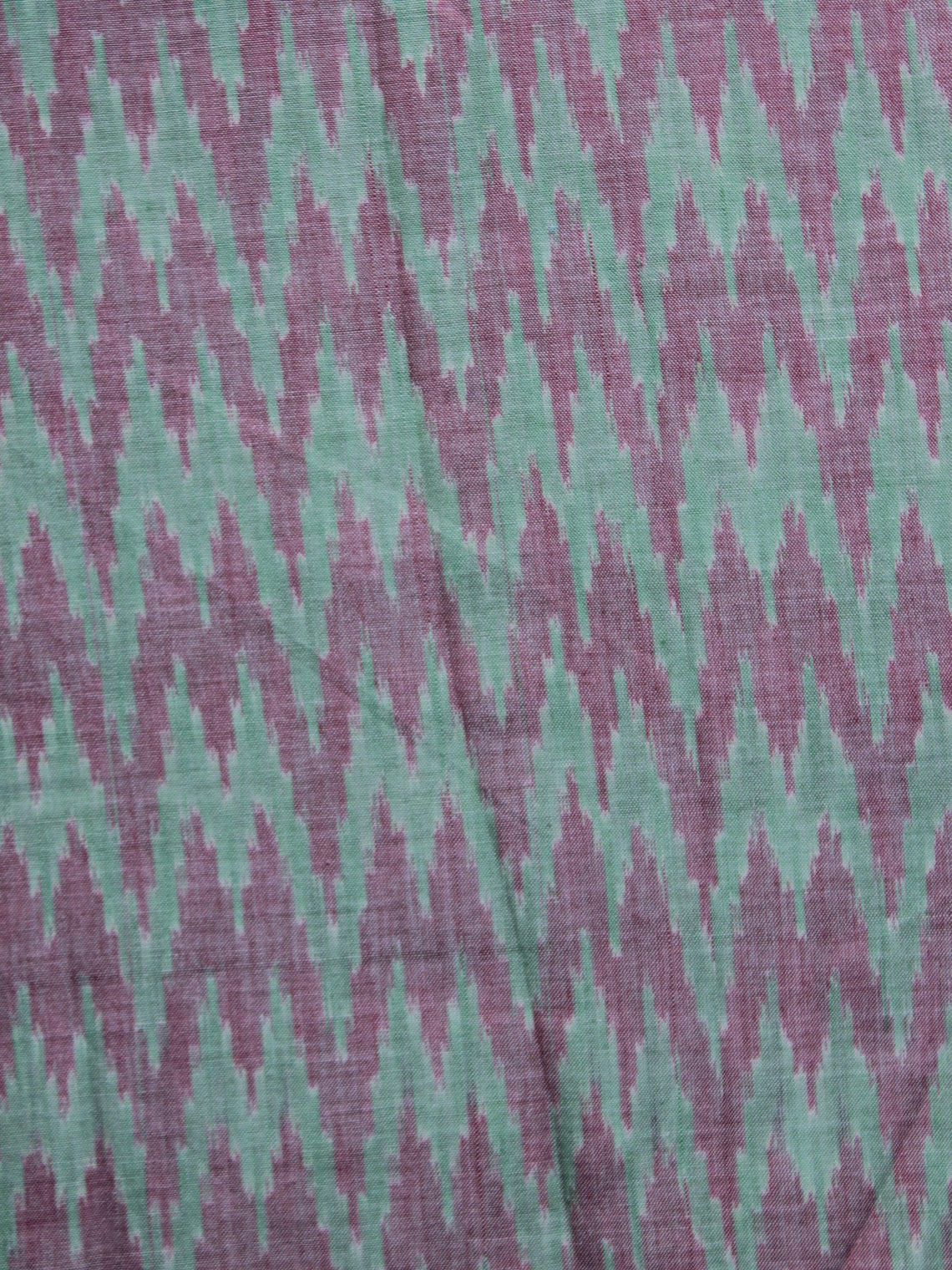 Green Rust Pochampally Hand Weaved Ikat Mercerised Cotton Fabric Per Meter - F002F1033