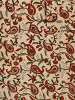 Beige Maroon Green Hand Block Printed Cotton Fabric Per Meter - F001F783