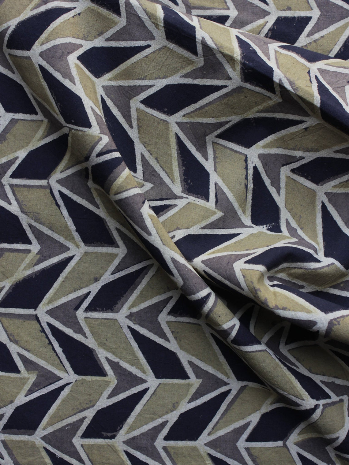 Grey Black Olive Green  Ajrakh Printed Cotton Fabric Per Meter - F003F1172