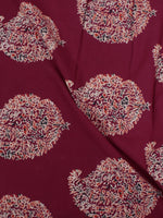 Maroon Ivory Ajrakh Block Printed Cotton Fabric Per Meter - F0916688