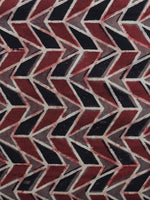 Red Black Brown Ajrakh Printed Cotton Fabric Per Meter - F003F1173