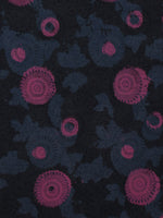 Dark Indigo Pink Grey Blue Hand Block Printed Cotton Fabric Per Meter - F001F784