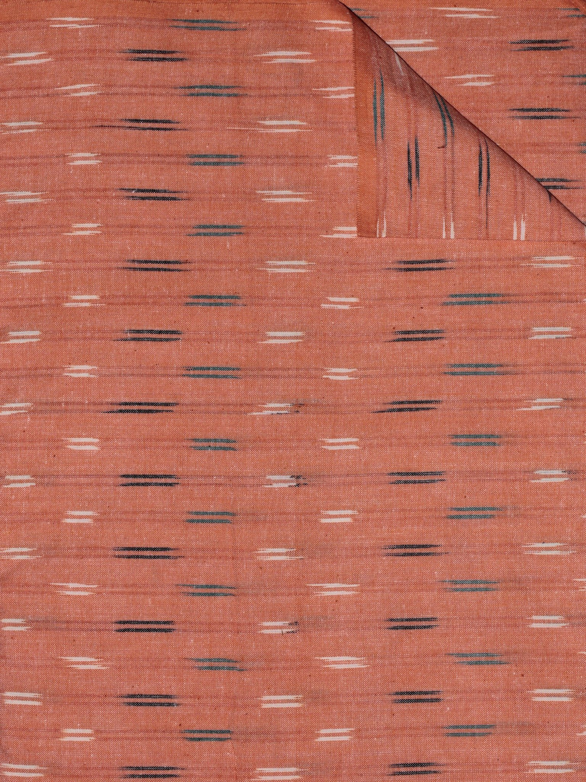 Peach Ivory Green Black Pochampally Hand Weaved Ikat Fabric Per Meter - F0916729