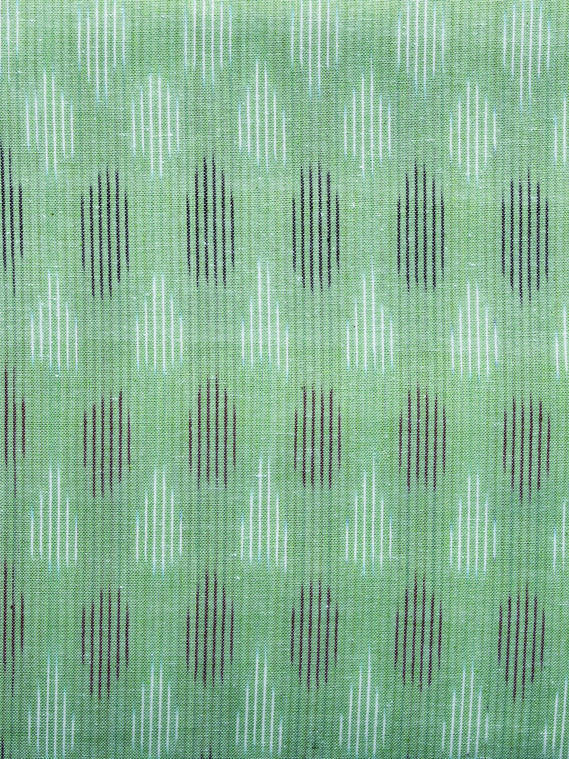 Light Green White Black Pochampally Hand Weaved Ikat Fabric Per Meter - F003F1230