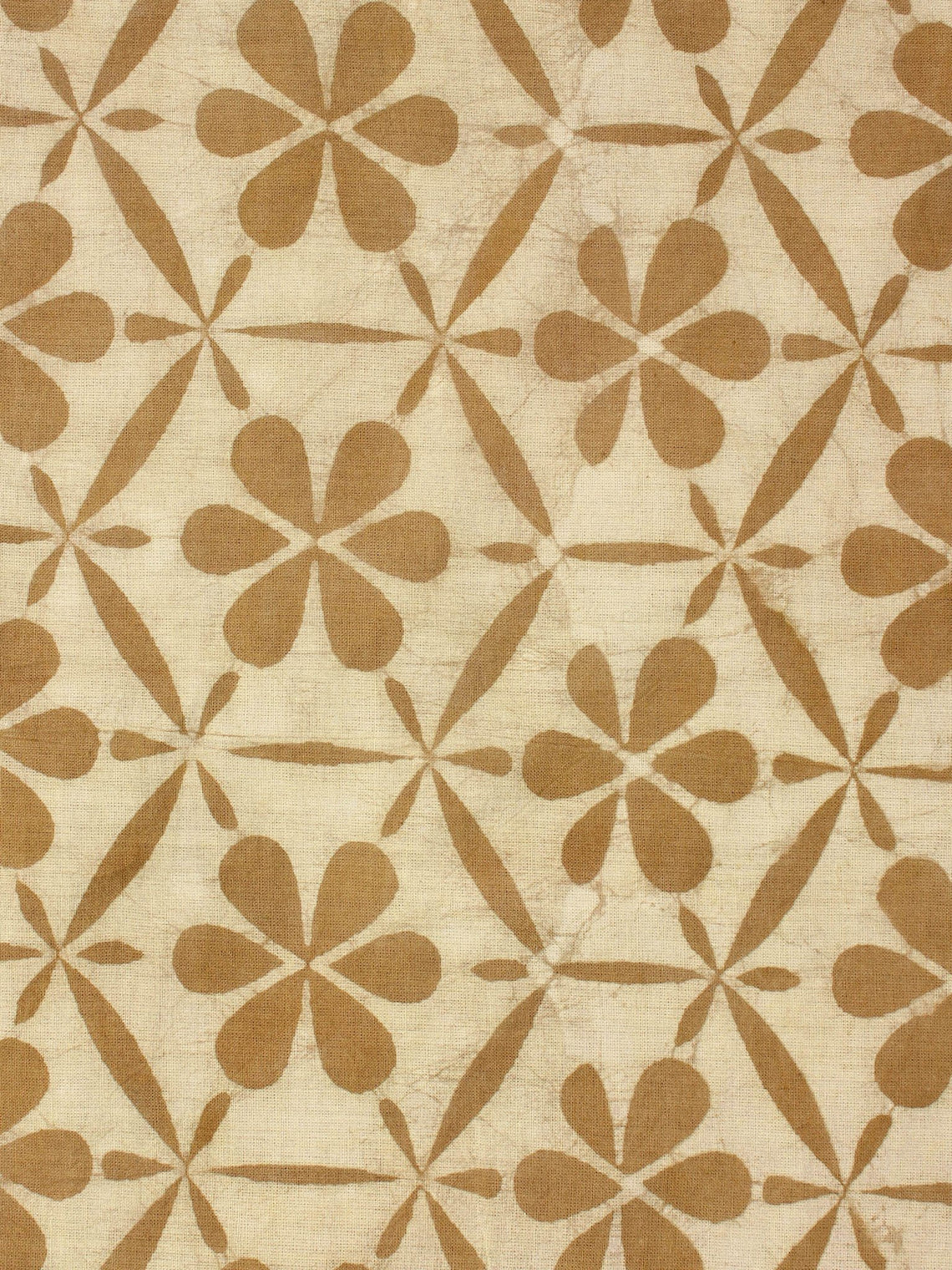 Beige Mustard Natural Dyed Hand Block Printed Cotton Fabric Per Meter - F0916264