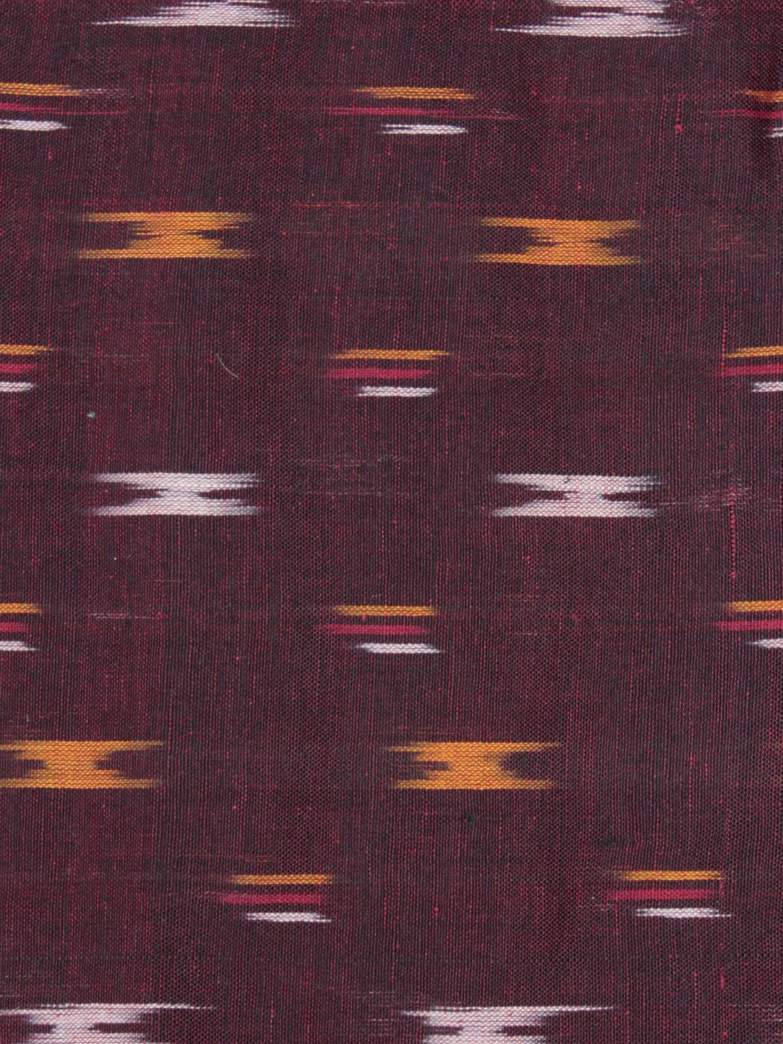 Maroon Yellow Red Ivory Pochampally Hand Weaved Ikat Fabric Per Meter - F0916731