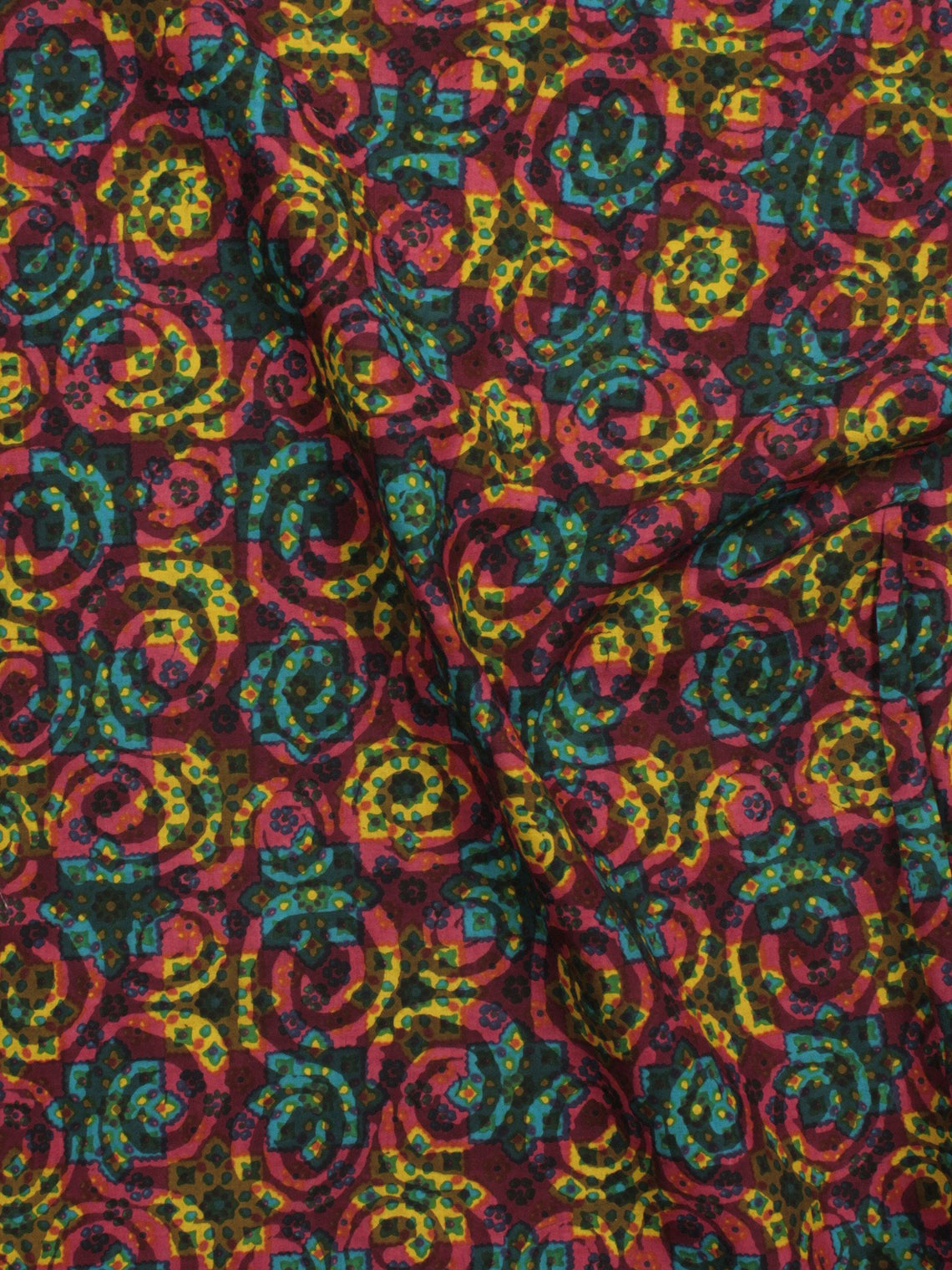 Multi Color Hand Block Printed Cotton Fabric Per Meter - F001F786