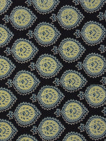 Indigo Green Ivory Ajrakh Printed Cotton Fabric Per Meter - F003F863
