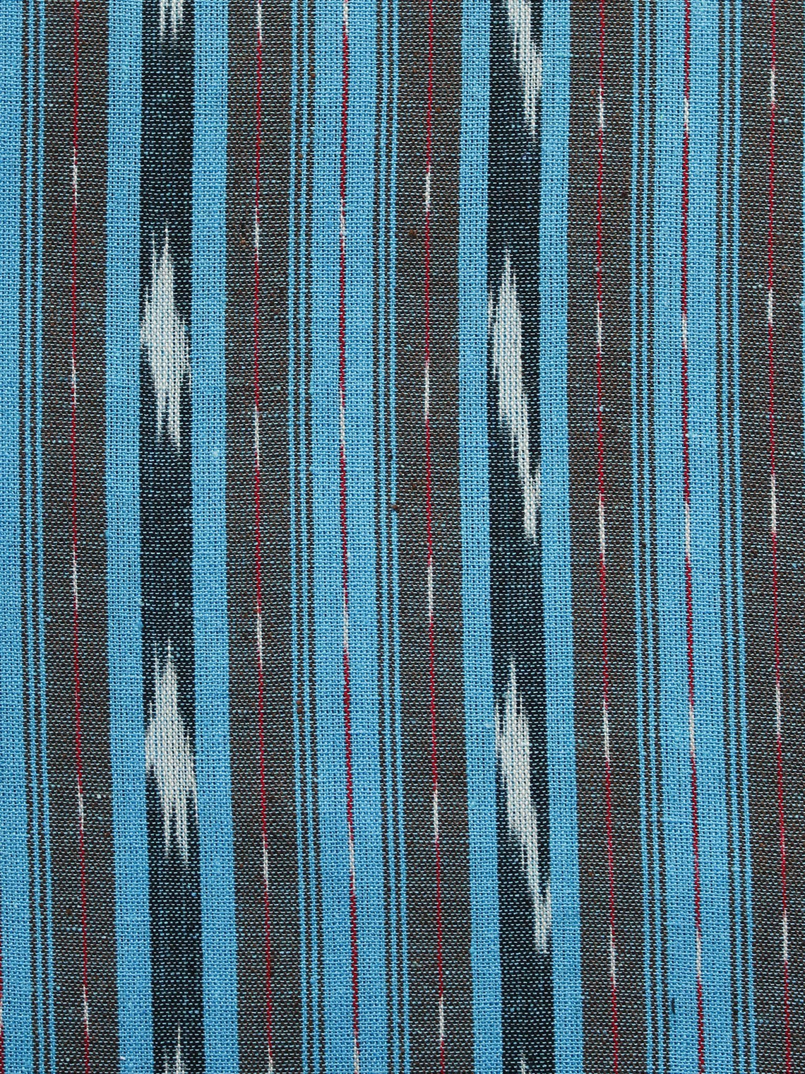 Blue Grey Ivory Pochampally Hand Woven Ikat Fabric Per Meter - F002F922