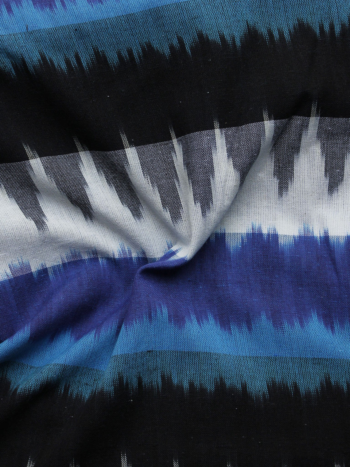 Blue White Black Grey Pochampally Hand Woven Ikat Fabric Per Meter - F002F1050