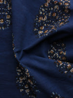 Indigo Peanut Brown Hand Block Printed Cotton Fabric Per Meter - F003F1302
