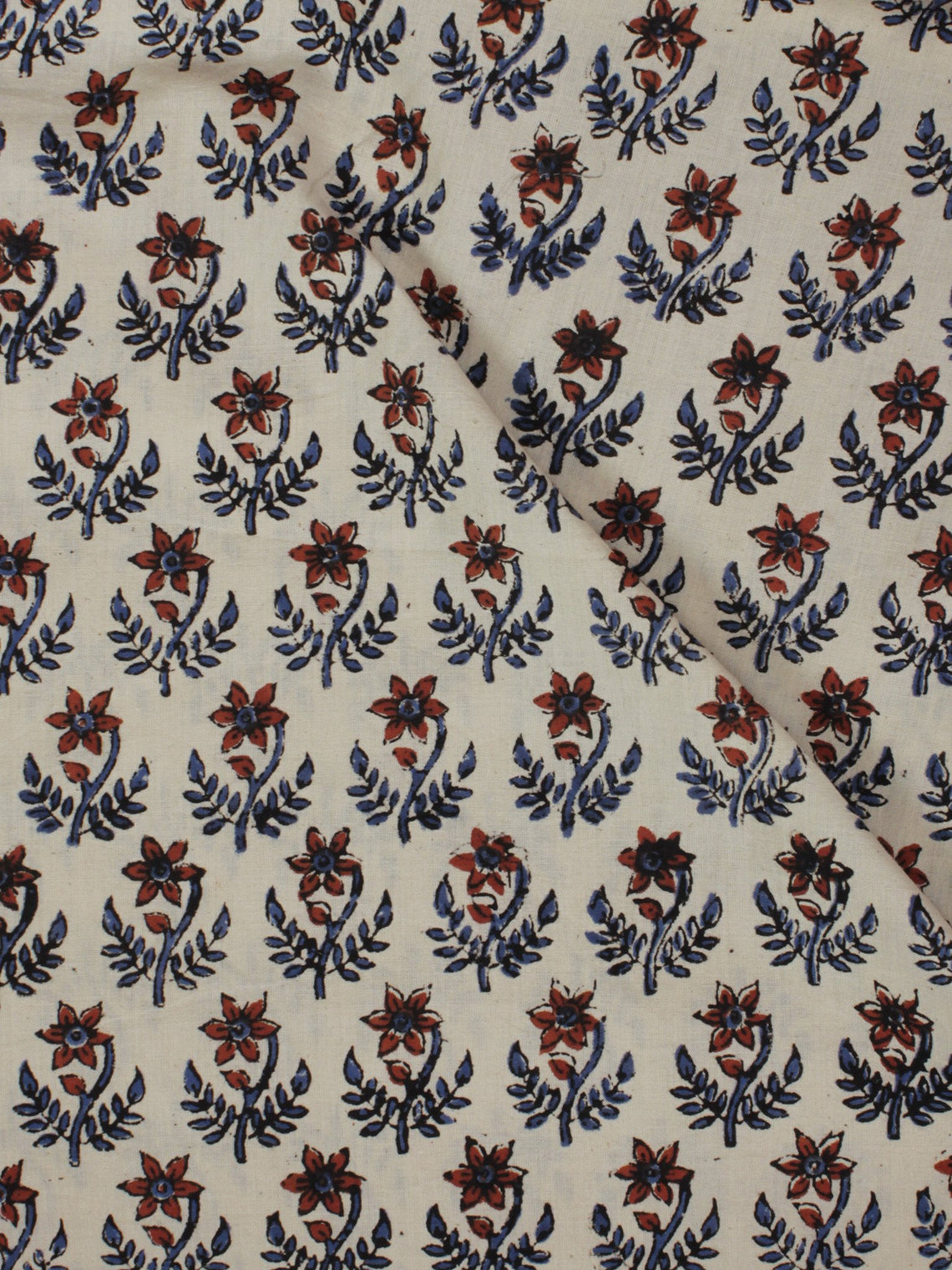 Beige Maroon Indigo Black Hand Block Printed Cotton Fabric Per Meter - F001F894