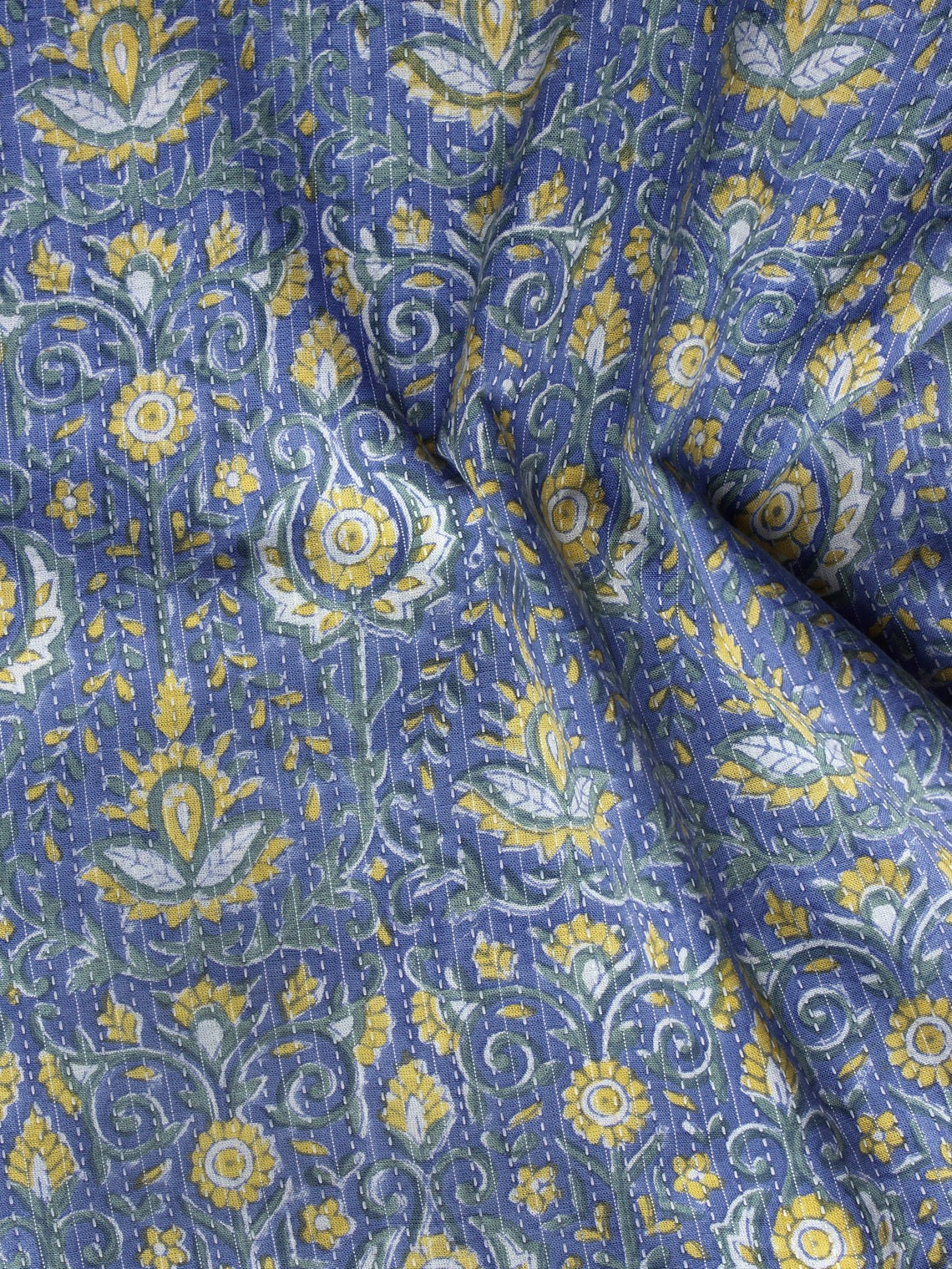 Indigo Yellow Green Kantha Embroidered Hand Block Printed Cotton Fabric - F004K1119
