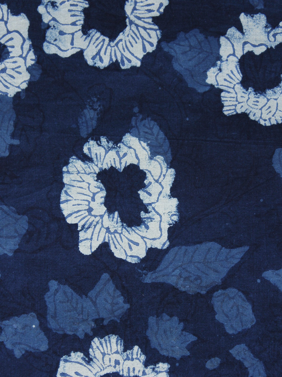 Indigo Ivory Hand Block Printed Cotton Fabric Per Meter - F001F1109