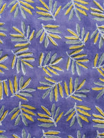 Blue Yellow Green Hand Block Printed Cotton Fabric Per Meter - F001F1067