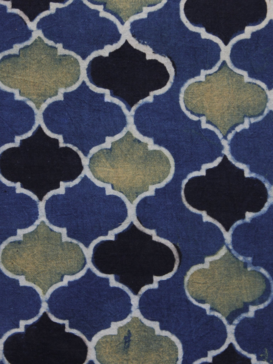 Blue Black Olive green Ajrakh Printed Cotton Fabric Per Meter - F003F1177