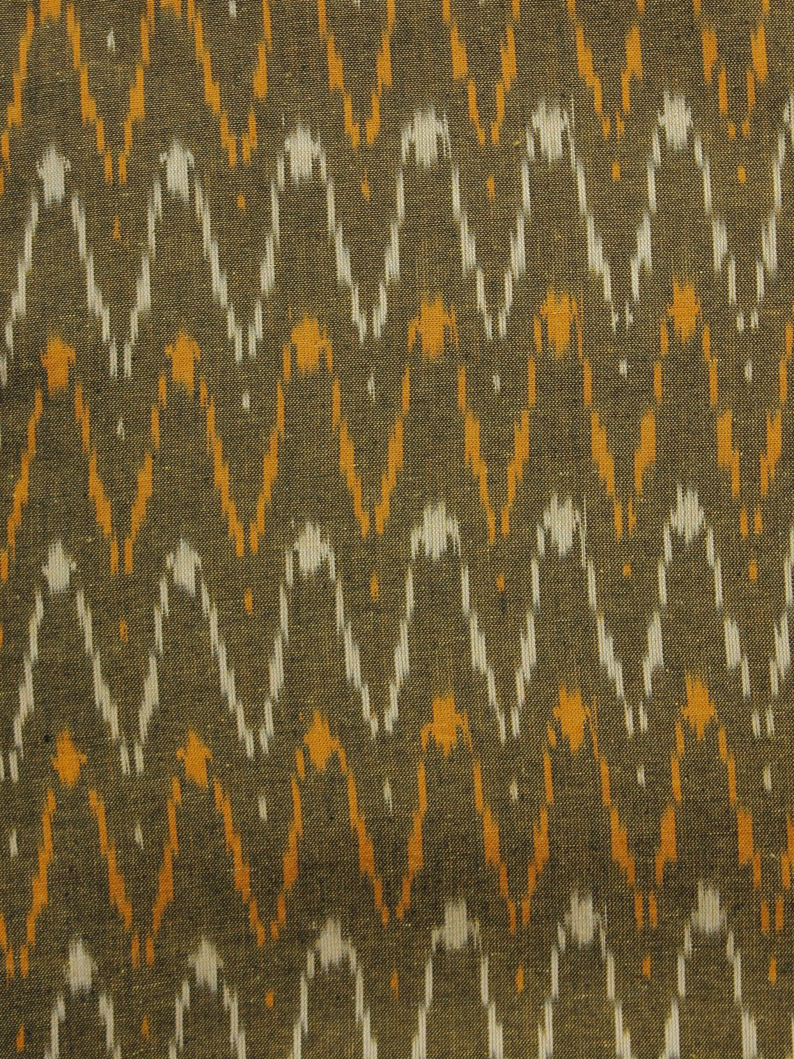 Peanut Brown Orange Ivory Pochampally Hand Woven Ikat Fabric Per Meter - F002F955