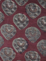 Maroon Red Grey light brown Hand Block Printed Cotton Fabric Per Meter - F001F1137