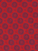 Red Grey Ajrakh Screen Printed Cotton Fabric Per Meter - F0916694