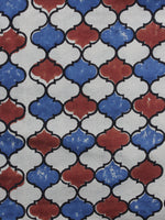 Ivory Red Blue Ajrakh Printed Cotton Fabric Per Meter - F003F1179