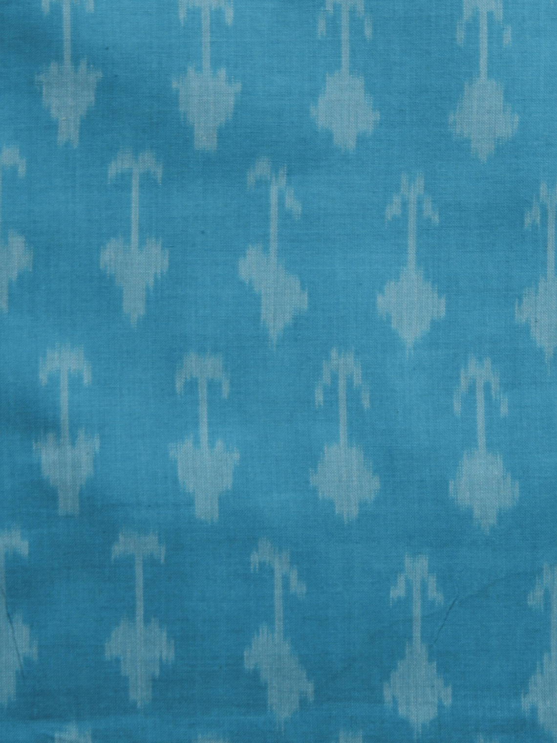 Teal Blue Ivory Pochampally Hand Weaved Ikat Mercerised Cotton Fabric Per Meter - F002F1040