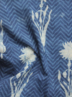 Indigo Ivory Hand Block Printed Cotton Fabric Per Meter - F001F903