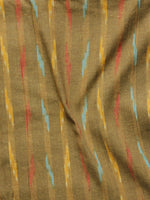 Brown Multi Color Pochampally Hand Woven Ikat Fabric Per Meter - F002F956