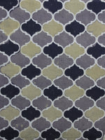 Grey Black Green Ajrakh Printed Cotton Fabric Per Meter - F003F1180