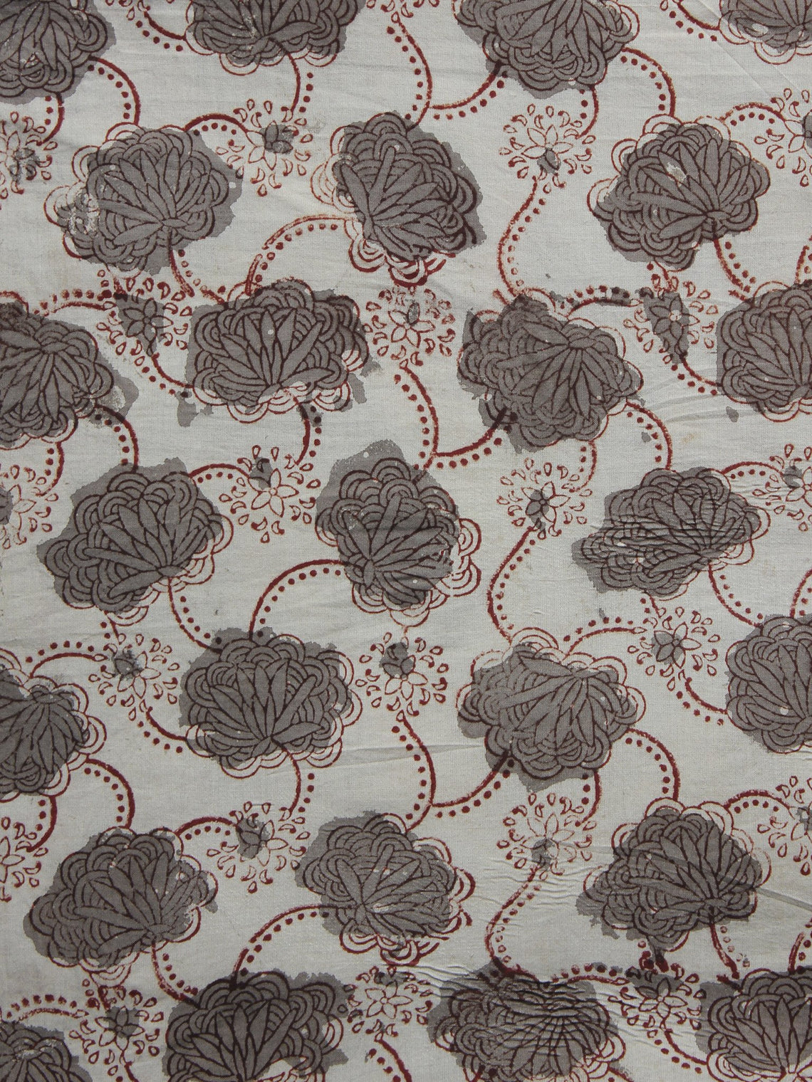 Ivory Kashish Maroon Hand Block Printed Cotton Fabric Per Meter - F001F959
