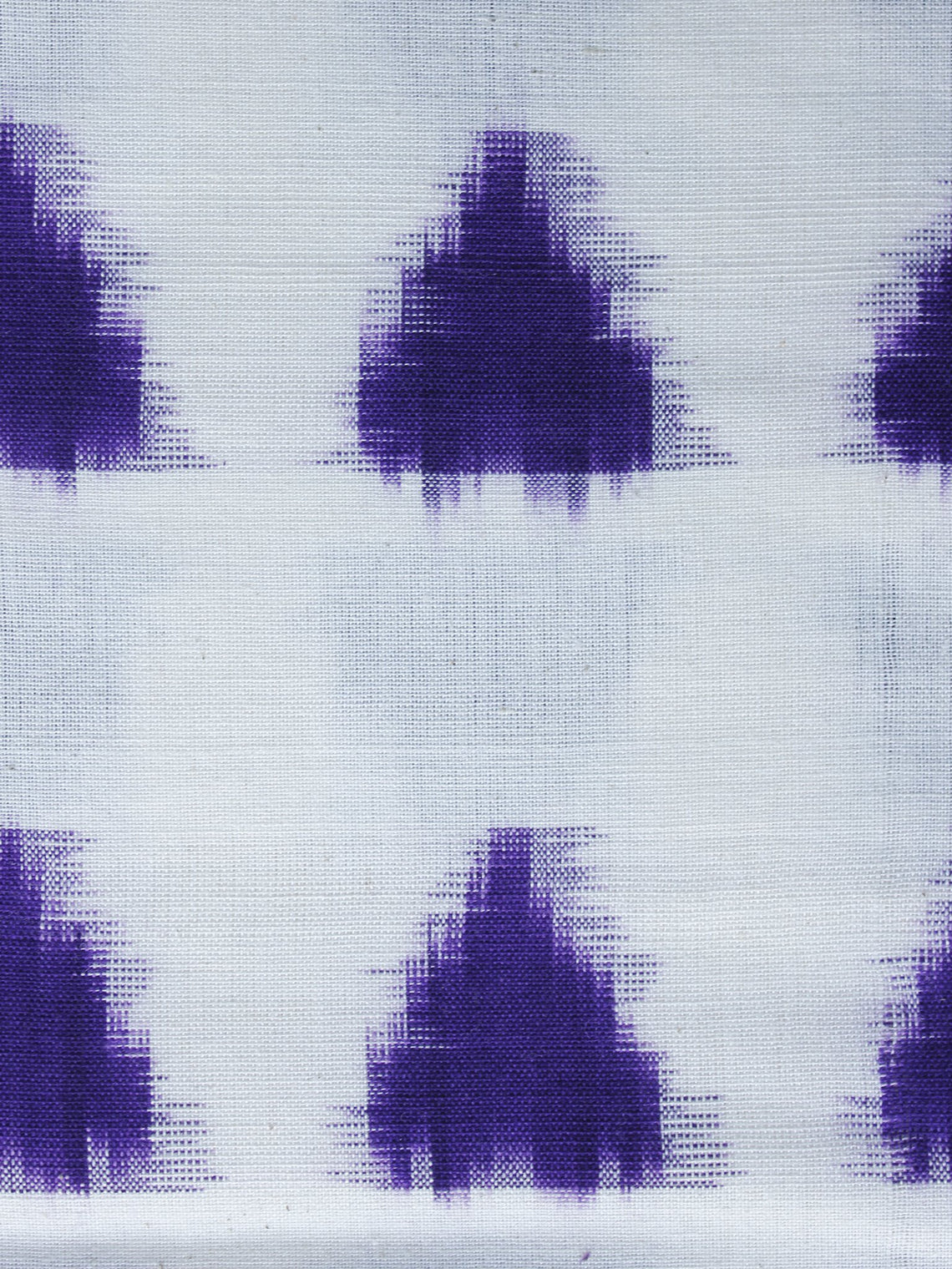 White Purple Pochampally Hand Weaved Double Ikat Fabric Per Meter - F003F1238