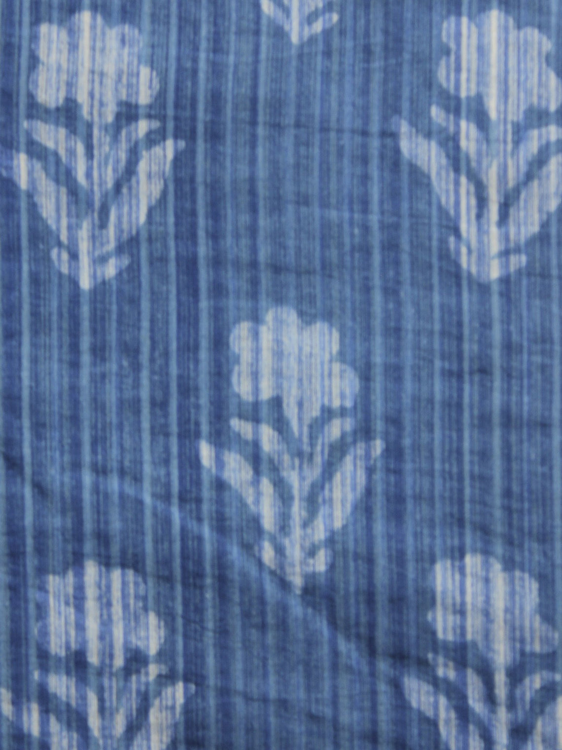 Indigo Ivory Hand Block Printed Cotton Fabric Per Meter - F001F905