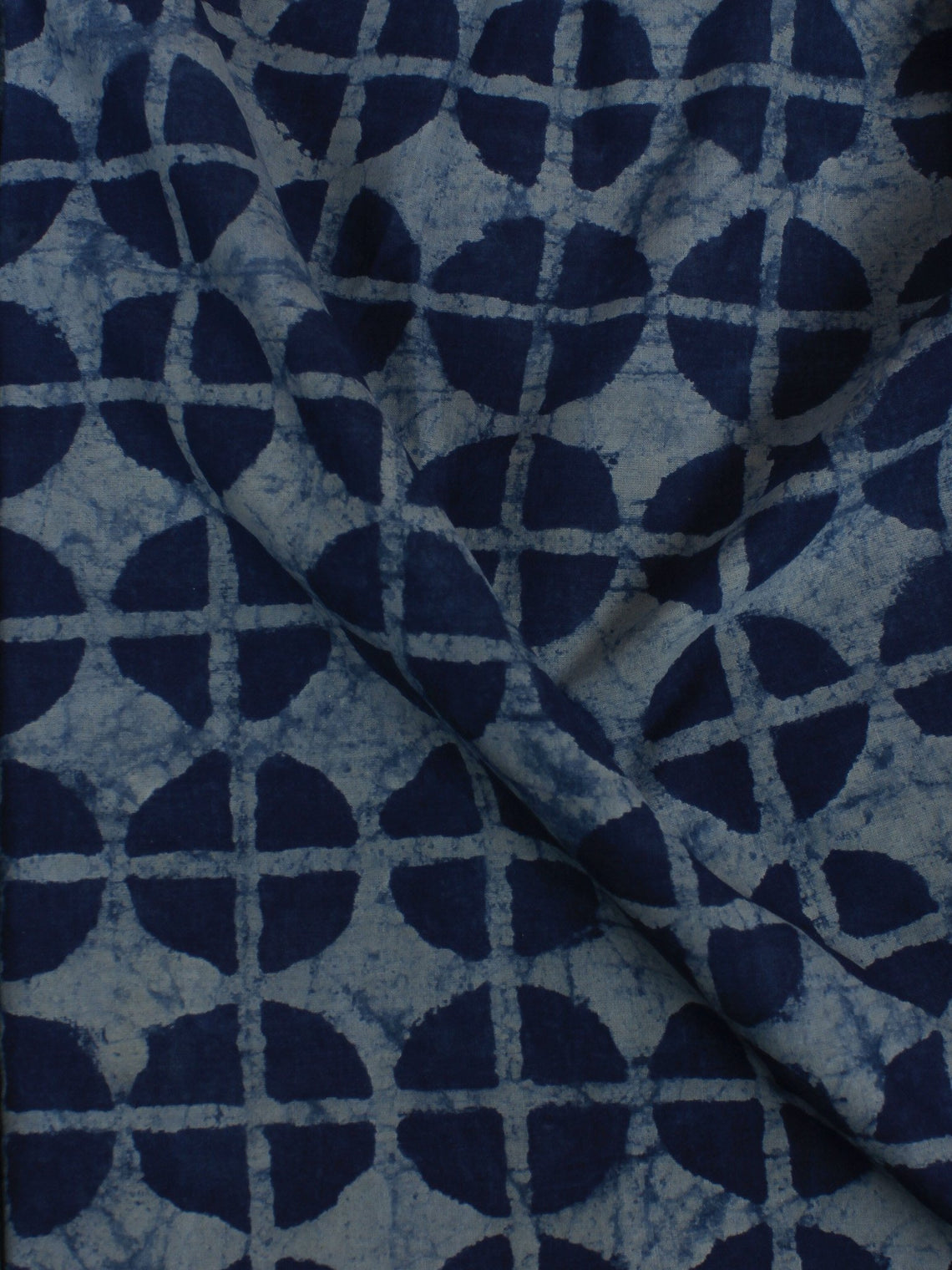 Indigo White Hand Block Printed Cotton Cambric Fabric Per Meter - F0916171