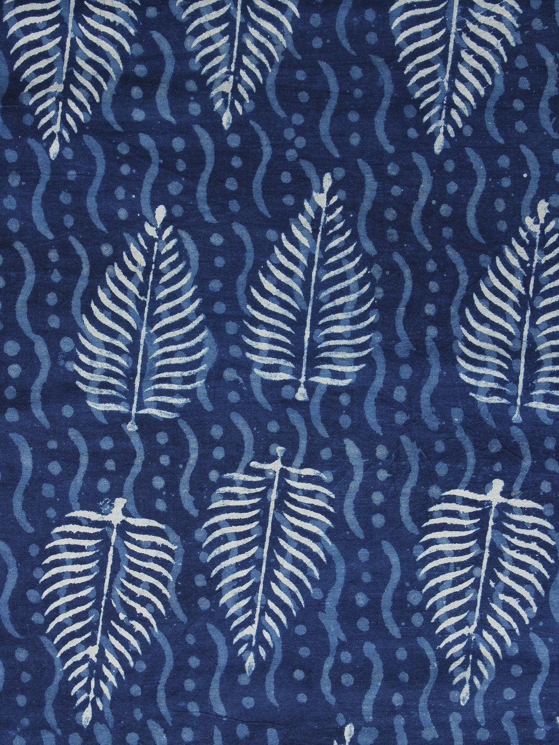 Indigo Blue White Hand Block Printed Cotton Fabric Per Meter - F001F1115
