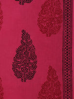 Magenta Pink Red Black Bagh Printed Cotton Fabric Per Meter - F005F2078