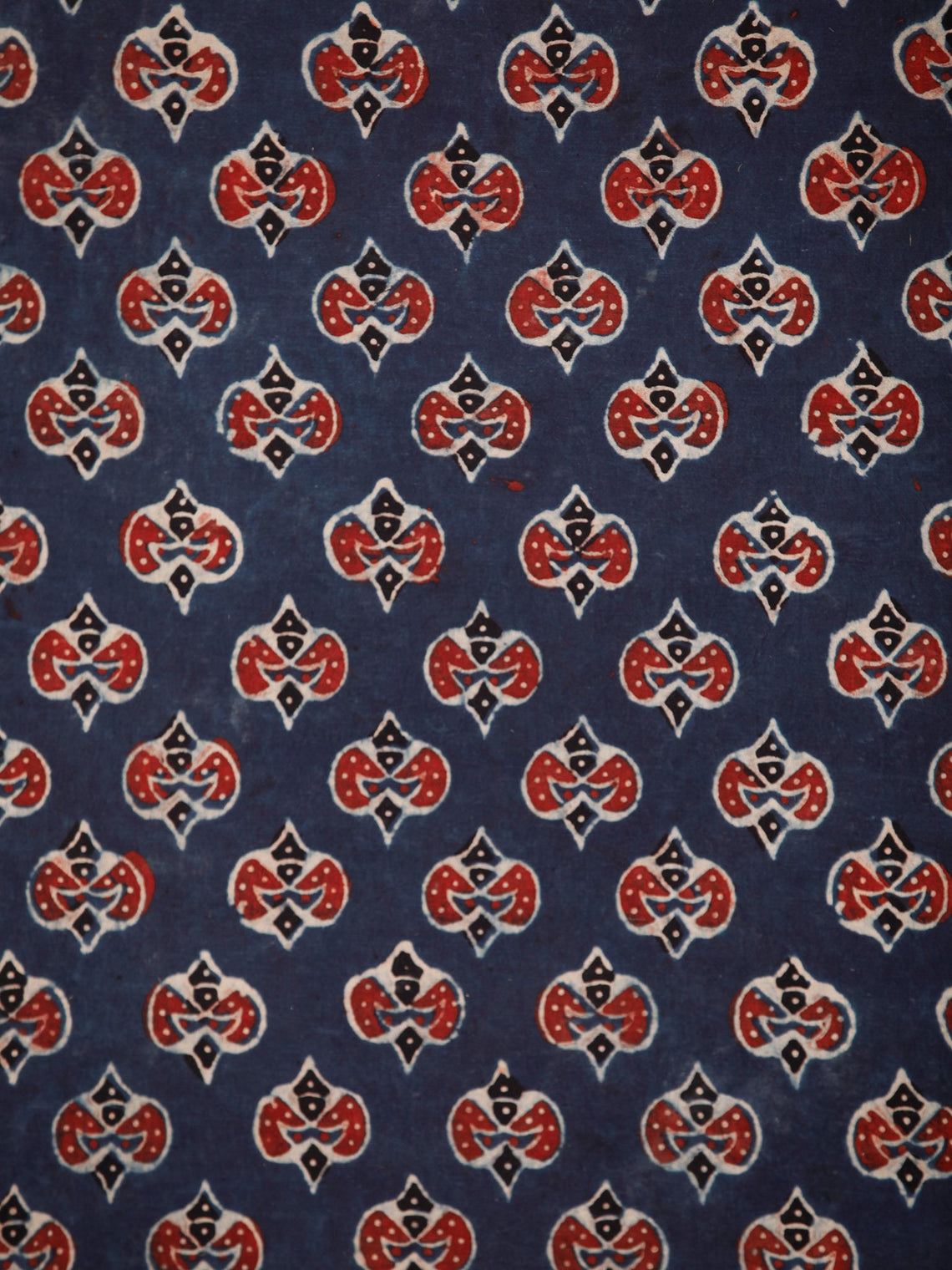 Indigo Red Ivory Black Ajrakh Block Printed Cotton Fabric Per Meter - F003F1760
