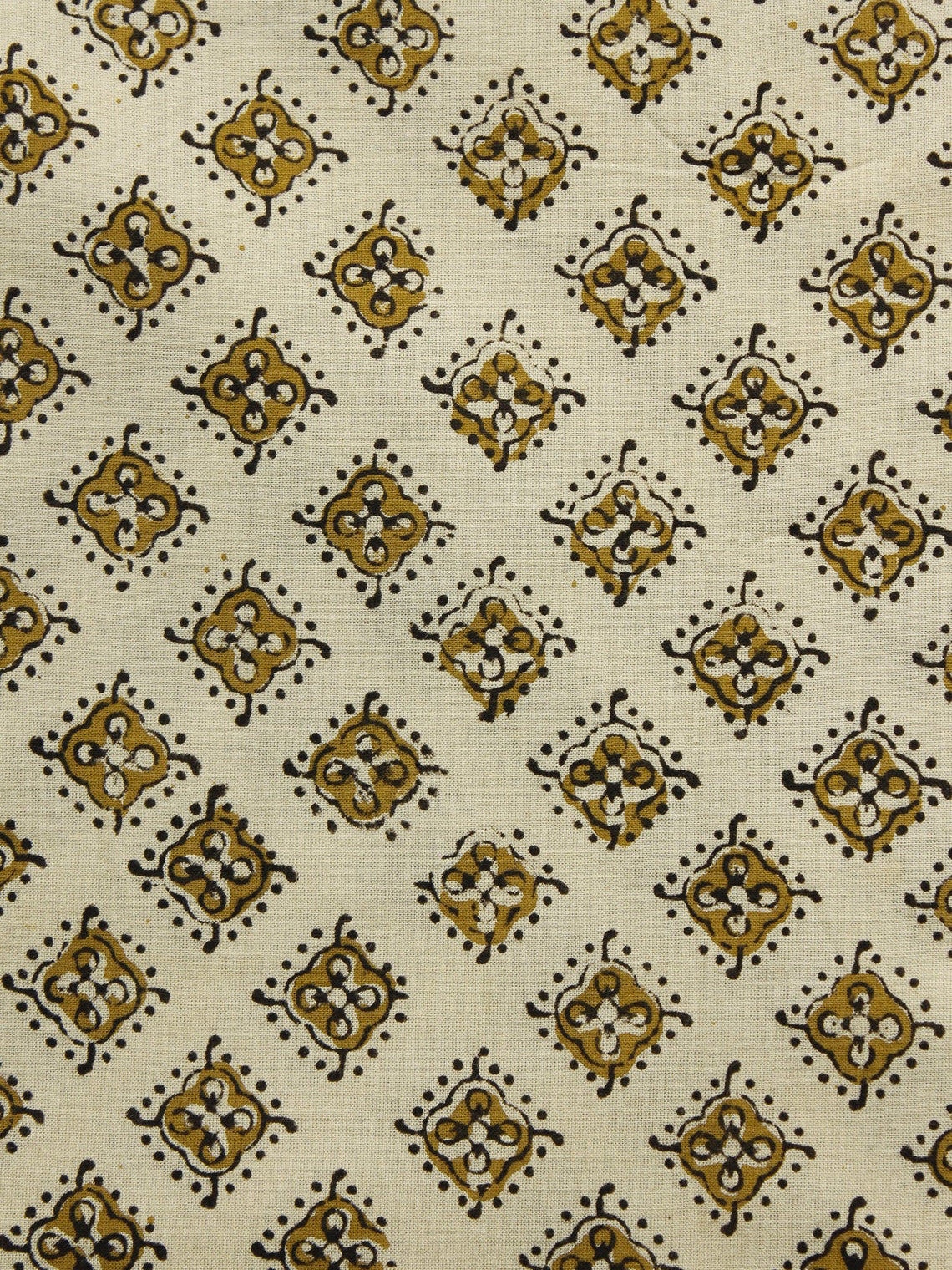 Beige Olive Green Black Hand Block Printed Cotton Fabric Per Meter - F001F1074