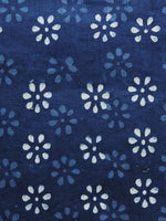 Indigo Blue White Hand Block Printed Cotton Fabric Per Meter - F001F1116