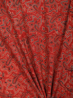 Red Black Grey Ajrakh Block Printed Cotton Fabric Per Meter - F003F1761