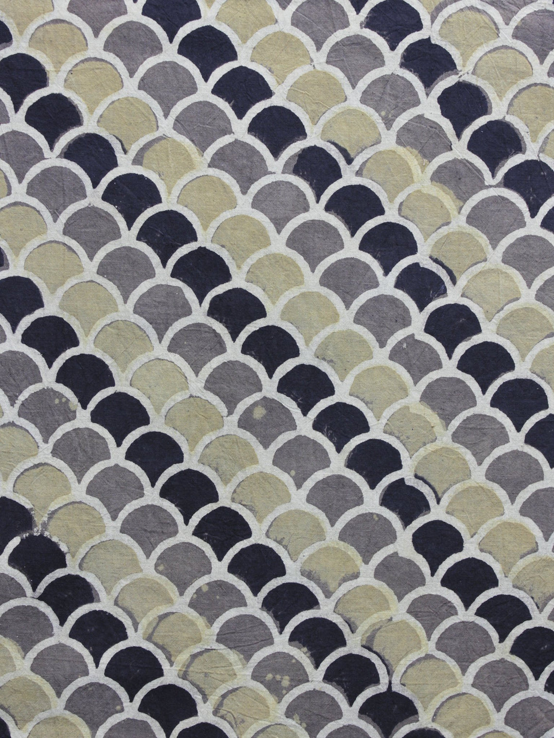Grey Black Olive Green Ajrakh Printed Cotton Fabric Per Meter - F003F1186