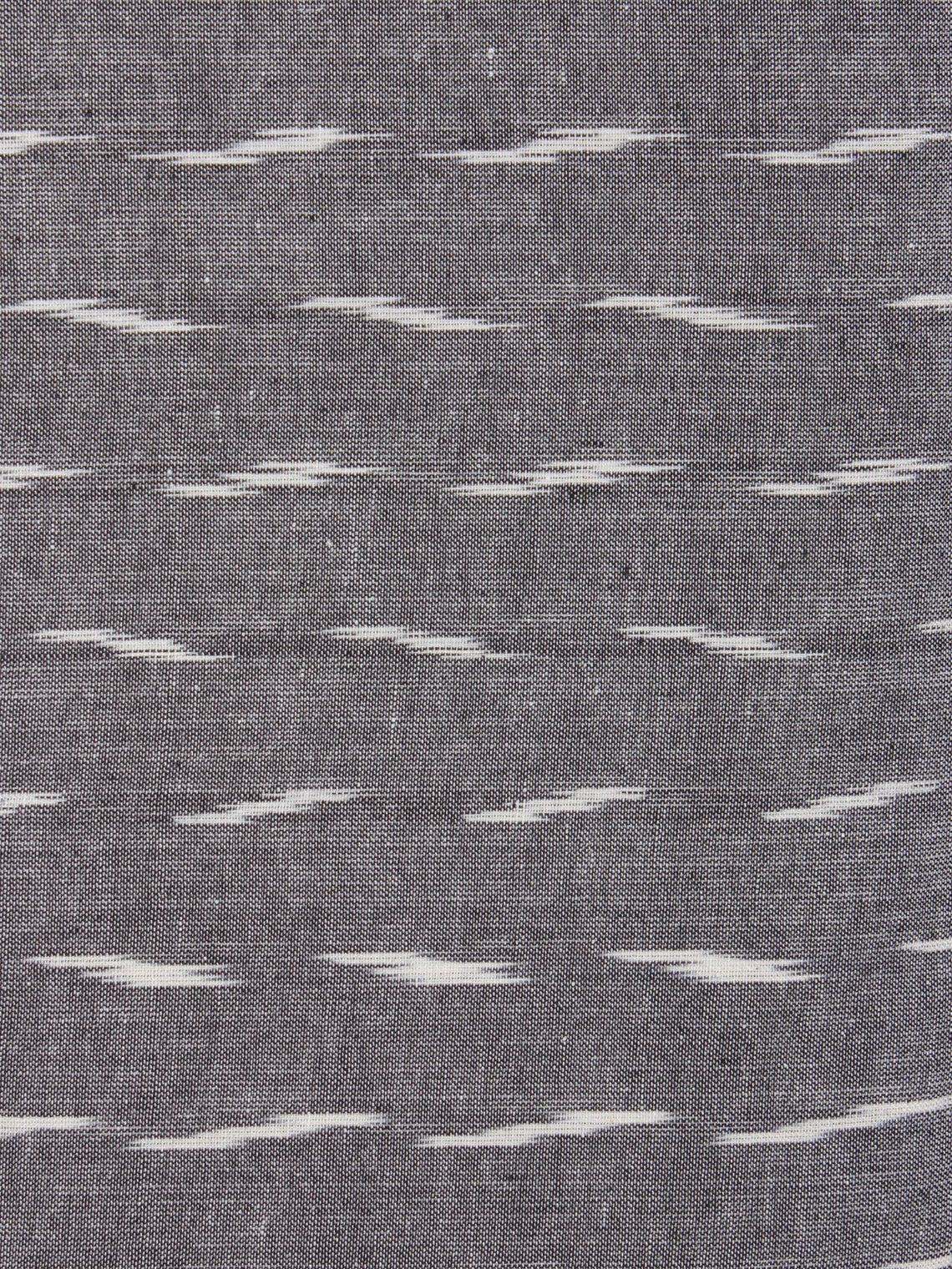 Grey Ivory Pochampally Hand Weaved Ikat Fabric Per Meter - F0916741