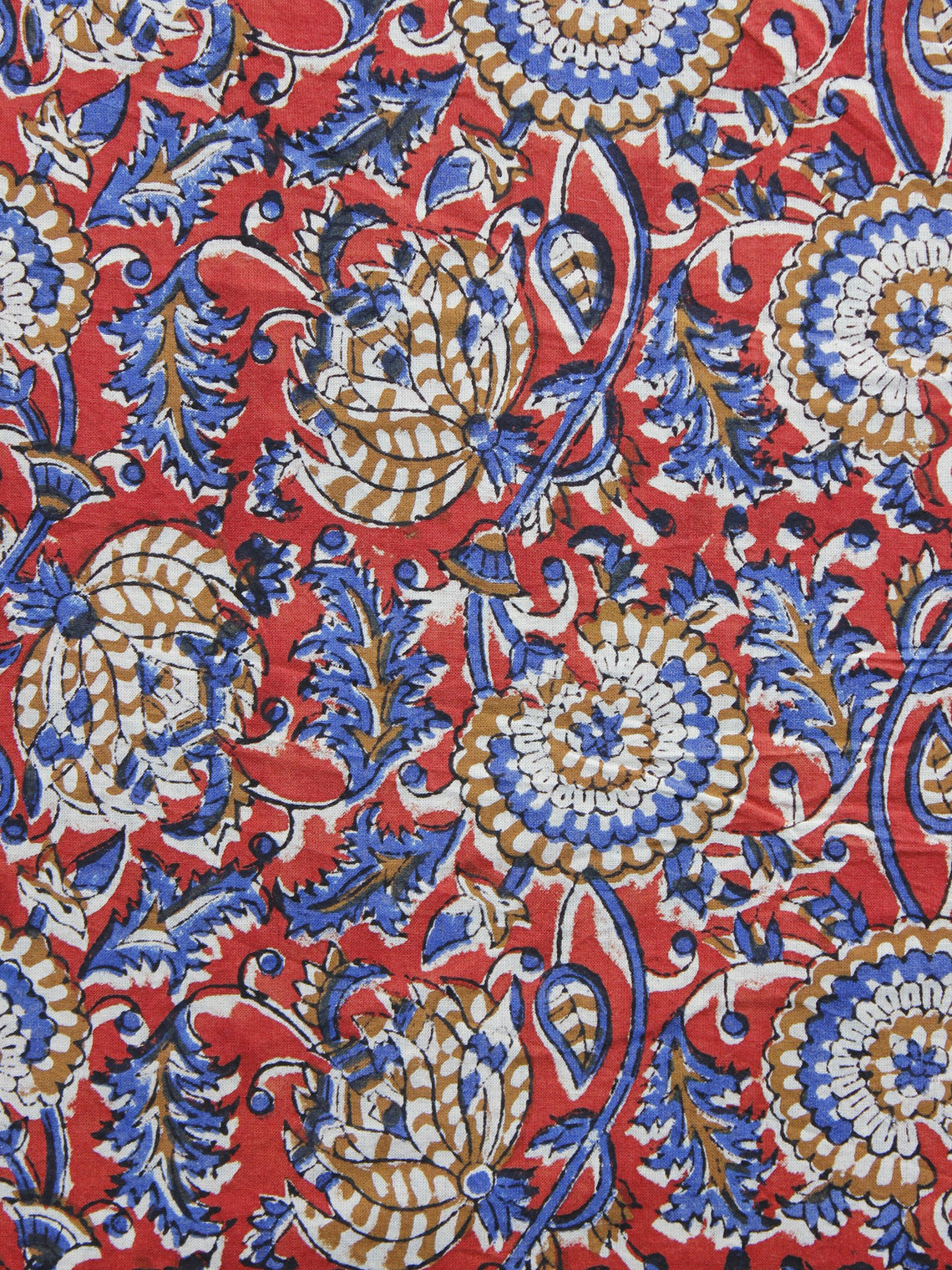 Red Blue Peanut Brown Hand Block Printed Cotton Fabric Per Meter - F003F1216
