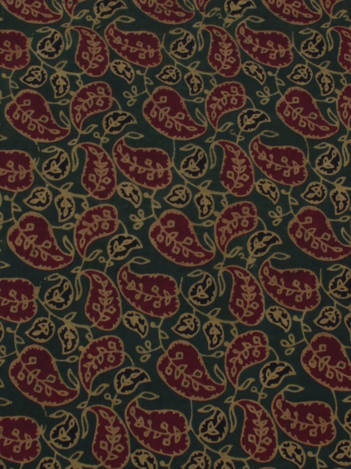Dark Green Maroon Beige Ajrakh Block Printed Cotton Fabric Per Meter - F0916675
